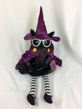 Halloween Decor Black Wizard Witch Kitty Cat Shelf Sitter Doll - $20.78