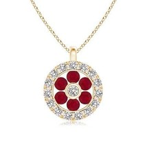 "Natural Ruby Diamond Flower Pendant Necklace 14k Yellow Gold 18"" Chain - $510.07"