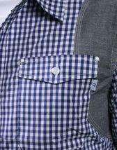 Orisue Bleu Blanc Vichy Pittsburgh Manches Longues Tissé Bouton Bas T-Shirt Nwt image 3
