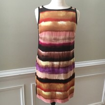 Ann Taylor Petite Shift Dress Striped Pink Black Sleeveless Size 10 P - $23.16