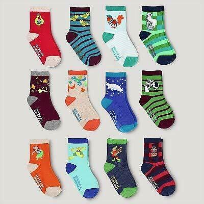 Cat & Jack 12 days of socks Boys crew socks colors designs vary 2T-5T image 3