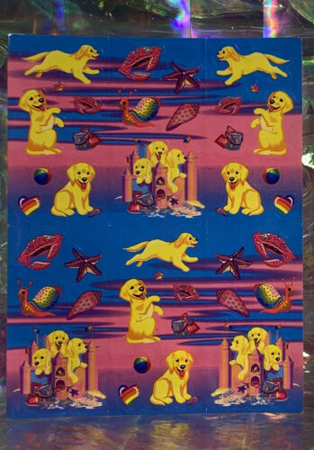 Complete Vintage Lisa Frank LAB PUPPIES & Sandcastles Stickers S364 Perfect