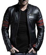 Fight club Brad Pitt Retro Mayhem Cafe Racer Stripes Biker Leather & Fau... - $57.95+