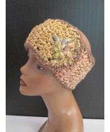 Handmade Crochet Ear Muff Head Band with Butterfly Brooche - Variegated ... - $14.00