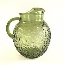 VINTAGE MID CENTURY GLASS AVOCADO GREEN ANCHOR HOCKING TEXTURED 3 QT PIT... - $39.59