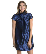 XS Madison Marcus Blue Silk High Neck Cap Sleev... - $41.58