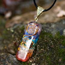 Natural 7 Chakra Orgone Energy Healing Pendant Necklace Stone Necklace N... - $12.89