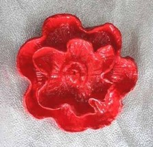 Fabulous Mod Big Red Composition Flower Brooch 1960s Vintage - $14.80