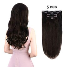 "5 Pieces 18"" Remy Clip in Hair Extensions Human Hair Dark Brown - Beauty Silky S"