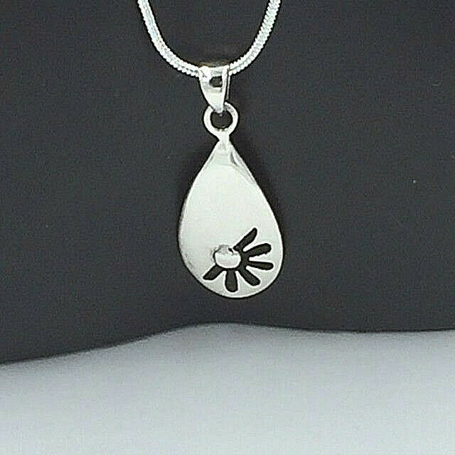 Primary image for Open Flower Pendant Necklace Genuine Solid 925 Sterling Silver NEW