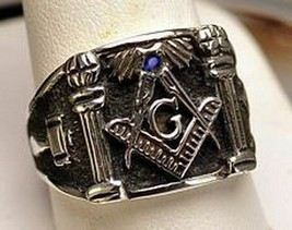 STERLING SILVER Sapphire MASONIC Mason RING Freemason Jewelry freemasonr... - $53.99