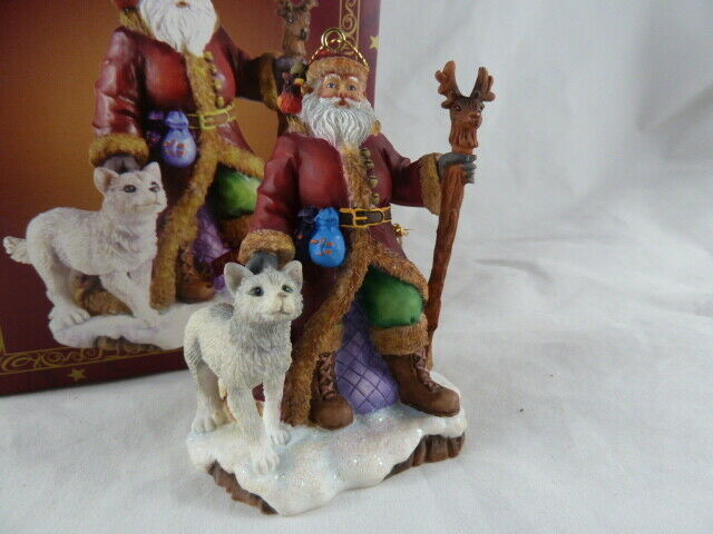 Primary image for The San Francisco Music Box Company Christmas Medley Santa with dog wolf