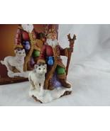 The San Francisco Music Box Company Christmas Medley Santa with dog wolf - $10.88