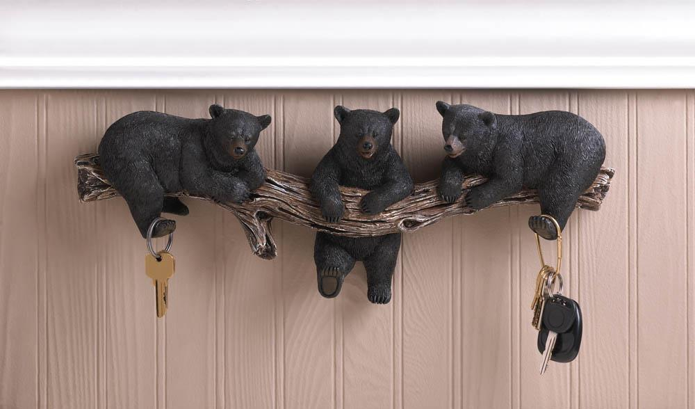 "Black Bear Cub Trio Wall Hook Rustic Cabin Decor Accent 18.2"" NEW #10016200"