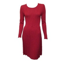 Kensie Womens Red Long Sleeve Crew Neck Casual A-line Short Knt Dress Sz M - $11.88