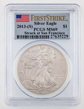 2013-(S) $1 American Silver Eagle Graded by PCGS as MS69 1st Strike - $39.60
