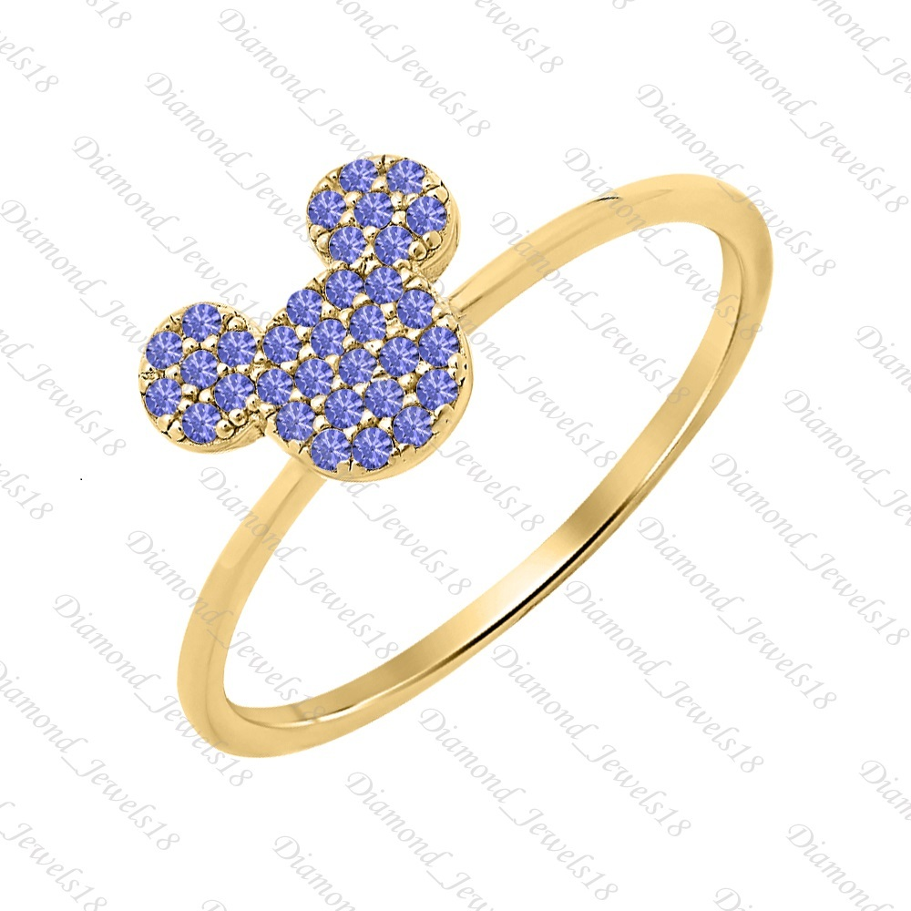 Mickey Mouse Tanzanite 14k Yellow FN 925 Sterling Silver Fashion Ring Womem's