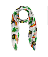 "ST PATRICKS DAY SCARF 27"" X 72"" SHAMROCK  ACCESSORY Green Polyester DECO... - £17.20 GBP"