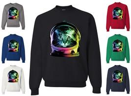 Space Cat Crewneck Sweatshirt Neon Galaxy Kitten Austronaut Cute Sweatshirt - $14.48+
