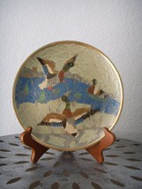 Vintage DUCKS in Water Brass Wall Hanging Plate Etched and Painted Malla... - $19.95