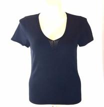 Talbots Large Knit Top Silk Blend Crochet Trim Basic Solid Black Stretch Work LN - $19.90