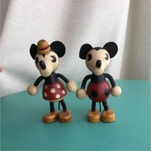 Minnie & Minnie Mouse Wooden Doll Figurine Disney Young Epoch Vintage Ja... - $69.99
