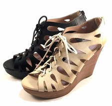 Restricted Max Out Natural Wedge Platform Peep Toe Lace Up Sandals - €36,48 EUR