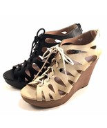 Restricted Max Out Natural Wedge Platform Peep Toe Lace Up Sandals - $47.20