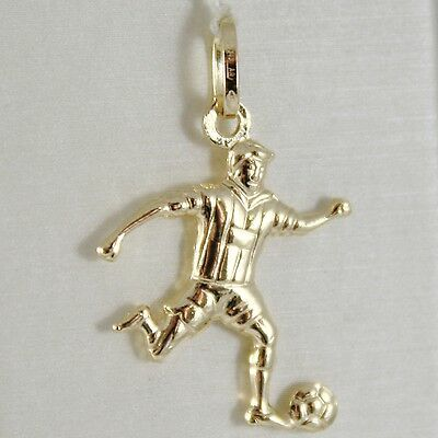 Yellow Gold Pendant 750 18K, Footballer, Player Football, 3 cm, Made in Italy
