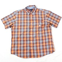 Chaps Easy Care Button Up Shirt Mens Size XL Extra Large Orange Checks Executive - $9.16