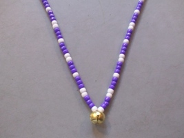 COTTON CANDY ~ HORSE RHYTHM BEADS ~ Purple, White ~ Size 54 inches - $17.00
