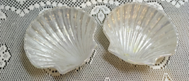 Set of Two Vintage Iridescent White Glass Shell Shaped AVON Soap Dish Ca... - $12.00