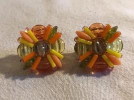 Mid Century 1960's W Germany RETRO Orange Yellow LUCITE Clip On Earrings... - $14.95