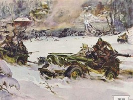1948 WILLYS JEEP WWII Russian Battle Scene Sessions artwork Print Ad - $14.99