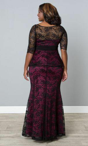 Kiyonna Übergröße Kleid Größe 1X Schwarz Lila Spitze Abendkleid Astoria image 2