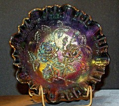Imperial Hand Crafted Purple Carnival Glass 3 Footed Candy Dish Bowl AA19-CD0039 image 2