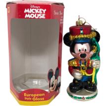 VTG Energizer Disney Mickey Mouse European Blown Glass Soldier Xmas Orna... - $22.76