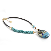 MILENA Necklace Oval Turquoise Murano Glass - $154.00