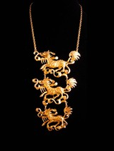 Vintage Dragon necklace - Huge Gothic creatures - chinese  mythical drop... - $225.00