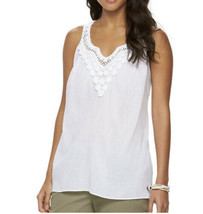NWT - CHAPS White Sleeveless Top w/Crocheted Front - sz M - MSRP $60.00 ... - $18.94