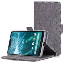 Google Pixel 3 XL Wallet Case PU Leather Canvas Folio Kickstand Card Slots Grey - $29.76