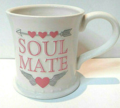 Soul Mate Pink Hearts Arrow Wings Valentine Coffee Mug by Russ Berrie - $17.27