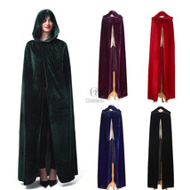 Velvet Hood Cloak Wicca Robe Medieval Witchcraft Cape Halloween Cloak USA Ship - $23.99