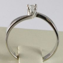 White Gold Ring 750 18K, Solitaire, Square Criss Crossed, Diamond, CT 0.10 image 4