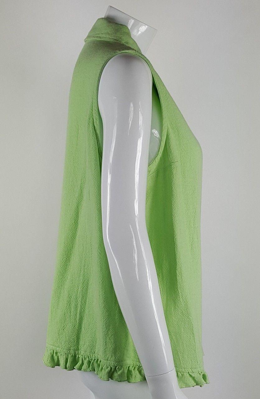 Focus Womens Medium Lime Green Button Up Tank Top Textured Cotton EUC USA Made