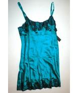 NWT New Designer Josie Natori Night Gown Chemise Aqua Black S Silk Lace ... - $201.50