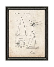 Rig For Sailboats Patent Print Old Look with Black Wood Frame - $24.95+