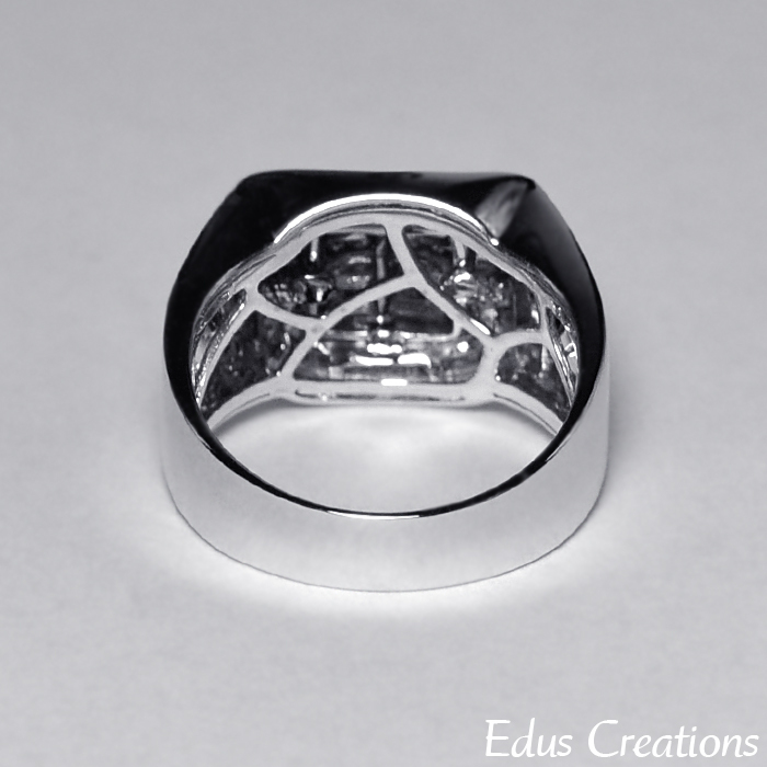 Mens Princess Diamond Pinky Ring 14K White Gold 1 Carat Custom Invisible Set