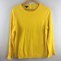 Talbots Sweater L Large Yellow Lambswool Blend Back Buttons Crewneck Ruf... - $20.37