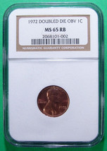"""1972  Double Die NGC MS 65 RB """"Red Brown"""" Lincoln Penny Cent - $555.57"""